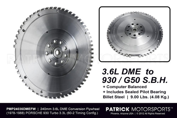 FLYWHEEL - PORSCHE 911 930 SPORT LIGHTWEIGHT 3.6L DME / G50 SBH CONVERSION - 240MM- FLW24036DMEFWPMP