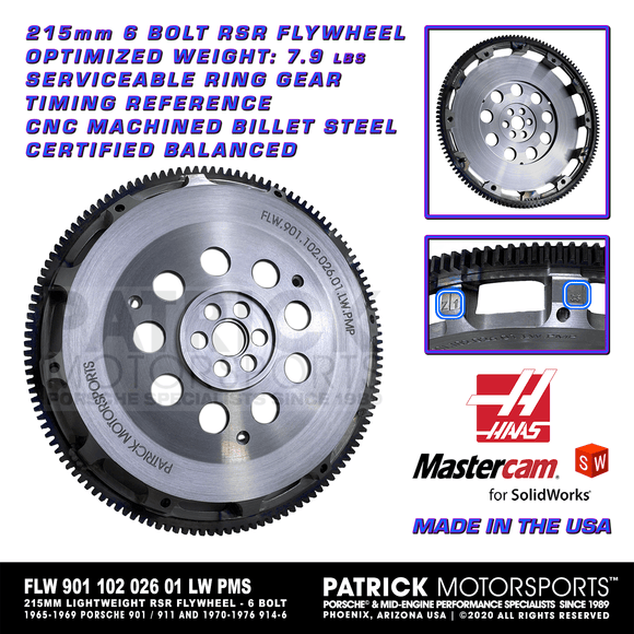 215mm Lightweight RSR Billet Flywheel For 901 / 902 / 911 / 914-6 Transmission - 6 Bolt Crankshaft. 906 Style Optimized Weight (7.9 Lbs. / 3.58 Kg.) Billet Steel With Integrated Serviceable Starter Ring Gear Part Number: FLW 901 102 026 01 LW PMS / FLW-901-102-026-01-LW-PMS / FLW.901.102.026.01.LW.PMS / FLW90110202601LWPMS / FLW 901 102 026 01 LW PMP / FLW-901-102-026-01-LW-PMP / 901.102.026.01.LW.PMP / 901 102 026 01 / 90110202601