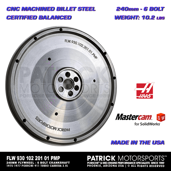 240mm Billet Flywheel For Early 930 Transmission / 911 Turbo Carrera 3.0L (FLW 930 102 201 01 PMS)