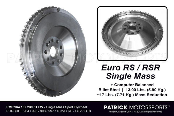 SINGLE MASS LIGHTWEIGHT FLYWHEEL PORSCHE 911 - 964 - 993 - 996 - 997 TURBO - EURO RS / RSR / GT3 / GT2- FLW96410223931LWPMP