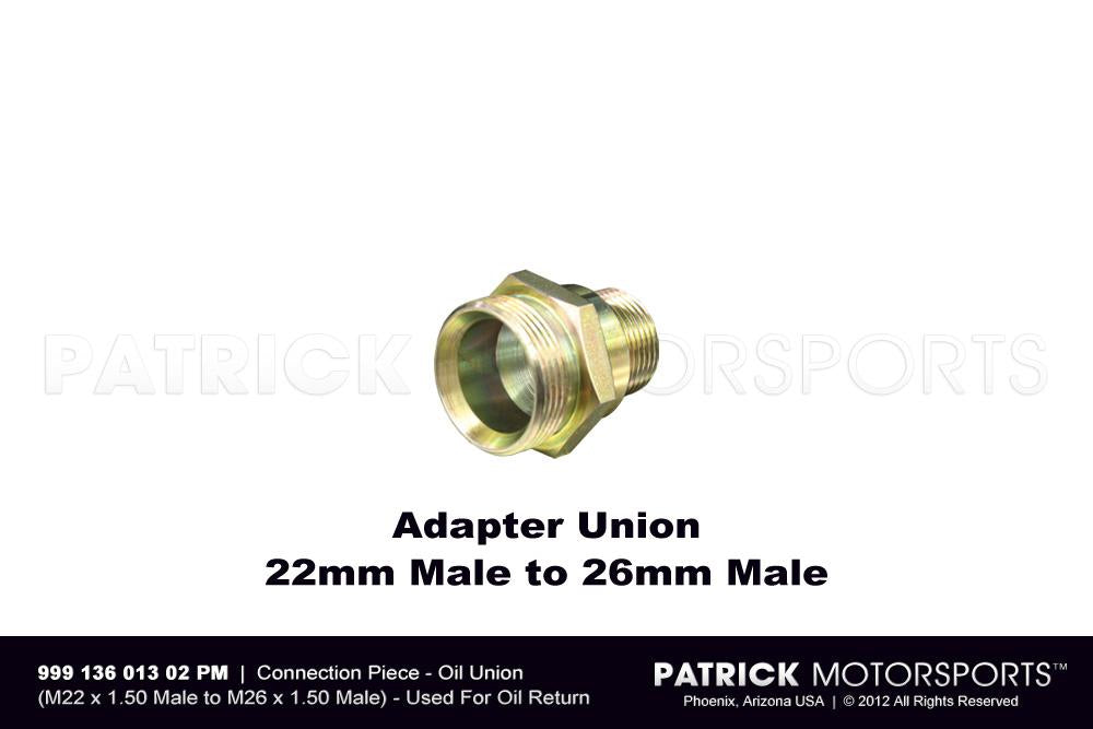 HAR 999 136 013 02 PMP: CONNECTION PIECE - ENGINE OIL UNION FITTING - 22MM MALE TO 26MM MALE