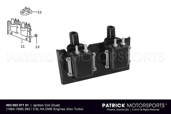 Ignition Coil Set Dual / 1994 - 1997 / Porsche 993 Carrera 3.6L DME IGN 993 602 071 01 / IGN 993 602 071 01 / IGN-993-602-071-01 / IGN.993.602.071.01 / IGN99360207101