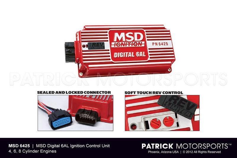MSD DIGITAL 6AL 6425 IGNITION CONTROL, WITH ADJUSTABLE REV LIMITER- IGNMSD6425