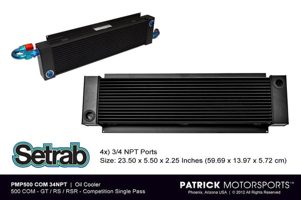 OIL COOLER - FRONT CENTER MOUNT 500 COM - PORSCHE 911 914 GT / RS / RSR- OIL500COM22MMPMP