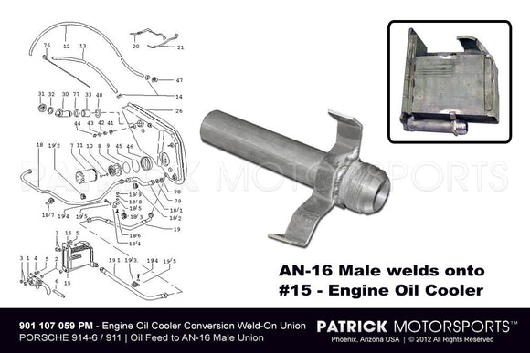 914-6 Porsche 911 Engine Oil Cooler AN-16 Male Feed Union OIL 901 107 059 16 PMS / OIL 901 107 059 16 PMS / OIL-901-107-059-16-PMS / OIL.901.107.059.16.PMS / OIL90110705916PMS