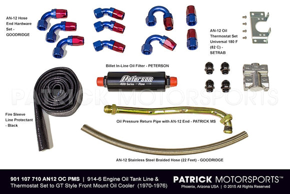 914-6 ENGINE OIL TANK LINE & THERMOSTAT SET TO GT STYLE FRONT MOUNT OIL COOLER- OIL901107710AN12OCPMS