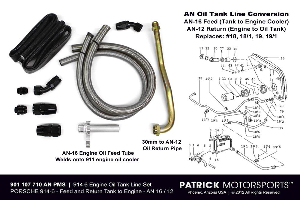 OIL 901 107 710 AN12 PMS: 914 6 ENGINE OIL TANK LINE SET - AN LINE CONVERSION - NO AUX COOLER