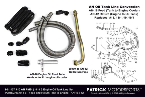 914-6 Engine Oil Tank Line Set - An Line Conversion - No Aux Cooler OIL 901 107 710 AN12 PMS / OIL 901 107 710 AN12 PMS / OIL-901-107-710-AN12-PMS / OIL.901.107.710.AN12.PMS / OIL901107710AN12PMS