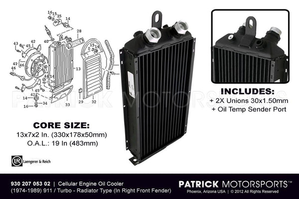 ENGINE OIL COOLER (IN RIGHT FRONT FENDER) - PORSCHE 911 - 930- OIL93020705302LAN