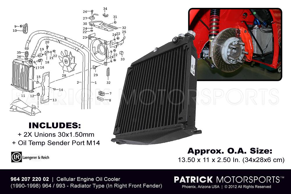 OIL 964 207 220 02 LAE: 964 993 ENGINE OIL COOLER RADIATOR HEAT EXCHANGER (IN RIGHT FRONT FENDER)