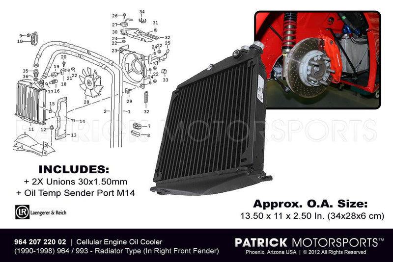 964 993 ENGINE OIL COOLER RADIATOR HEAT EXCHANGER (IN RIGHT FRONT FENDER)- OIL96420722002LAE