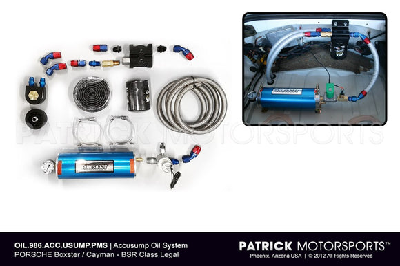 ACCUSUMP ENGINE DRY SUMP OIL SYSTEM - (1997-ON) PORSCHE BOXSTER & CAYMAN - SPORT / BSX / BSR / 986 SPEC RACING- OIL986ACCUSUMPPMS