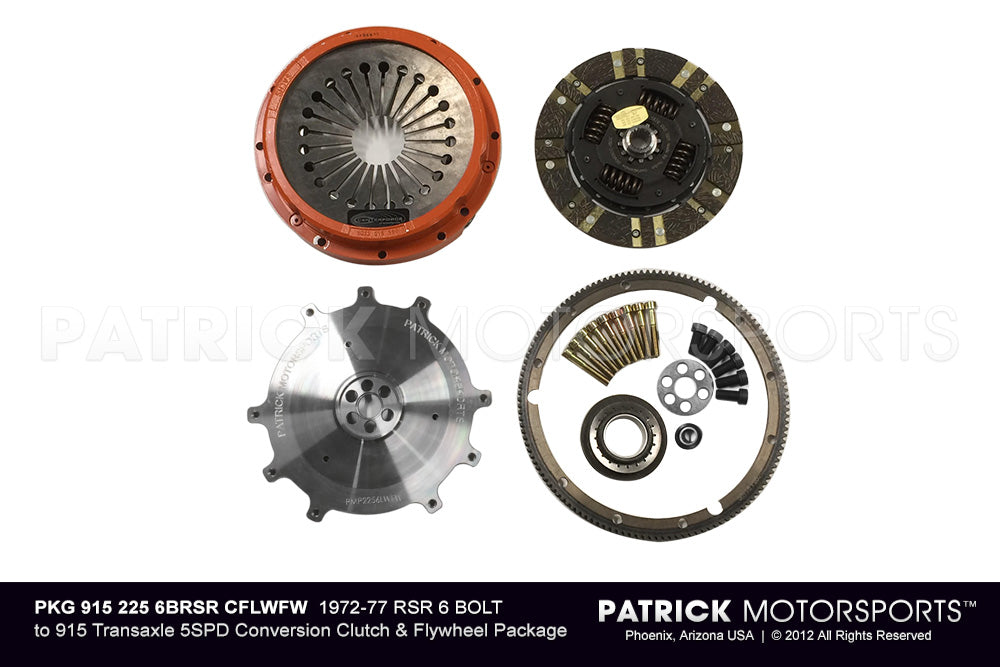 PKG 915 225 6BRSR CFLWFW: 1972-77 6-BOLT RSR 225MM TO 915 5SPD CONVERSION CLUTCH & FLYWHEEL PKG