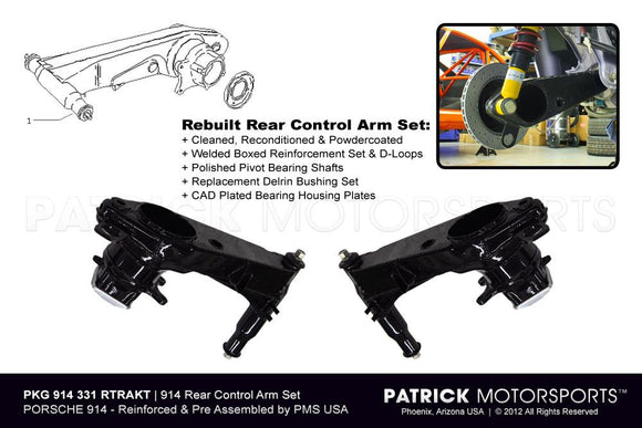 914 Rear Trailing Control Arm Set SUS 914 331 RTA PMS / SUS 999 343 008 K1 / SUS-999-343-008-K1 / 999.343.008 / 99934300