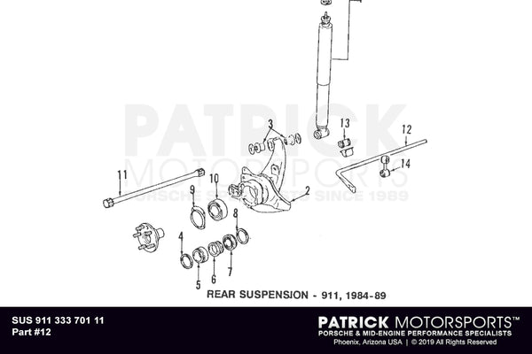 Porsche 911 Rear Sway Bar - 21mm SUS 911 333 701 11 / SUS 911 333 701 11 / 911-333-701-11 / 911.333.701.11 / 91133370111