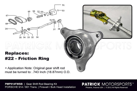 914 901 GEAR SHIFT ROD BEARING KIT - 1970-1976 PORSCHE 914-6/4 - FIREWALL / BULKHEAD- TRA91442422400PMP