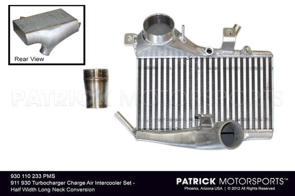 PORSCHE 911 930 TURBOCHARGER CHARGE AIR INTERCOOLER SET - HALF WIDTH LONG NECK CONVERSION- TUR930110233PMS