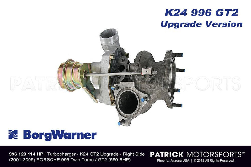 BorgWarner K24 Turbocharger - Porsche 911 / 996 / GT2 Turbo - Right Side TUR 996 123 114 HP / TUR 996 123 114 HP / TUR-996-123-114-HP / TUR.996.123.114.HP / TUR996123114HP