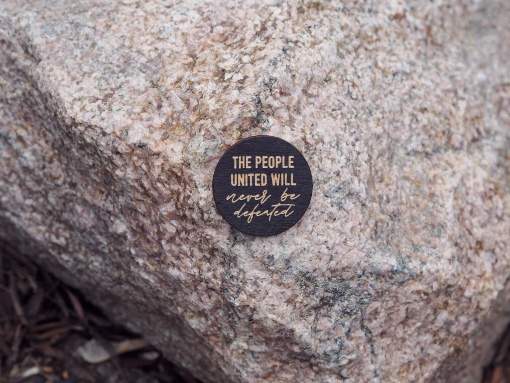 """The people united"" button"