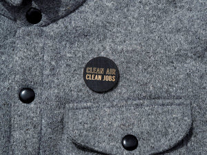 """Clean air, clean jobs"" button"