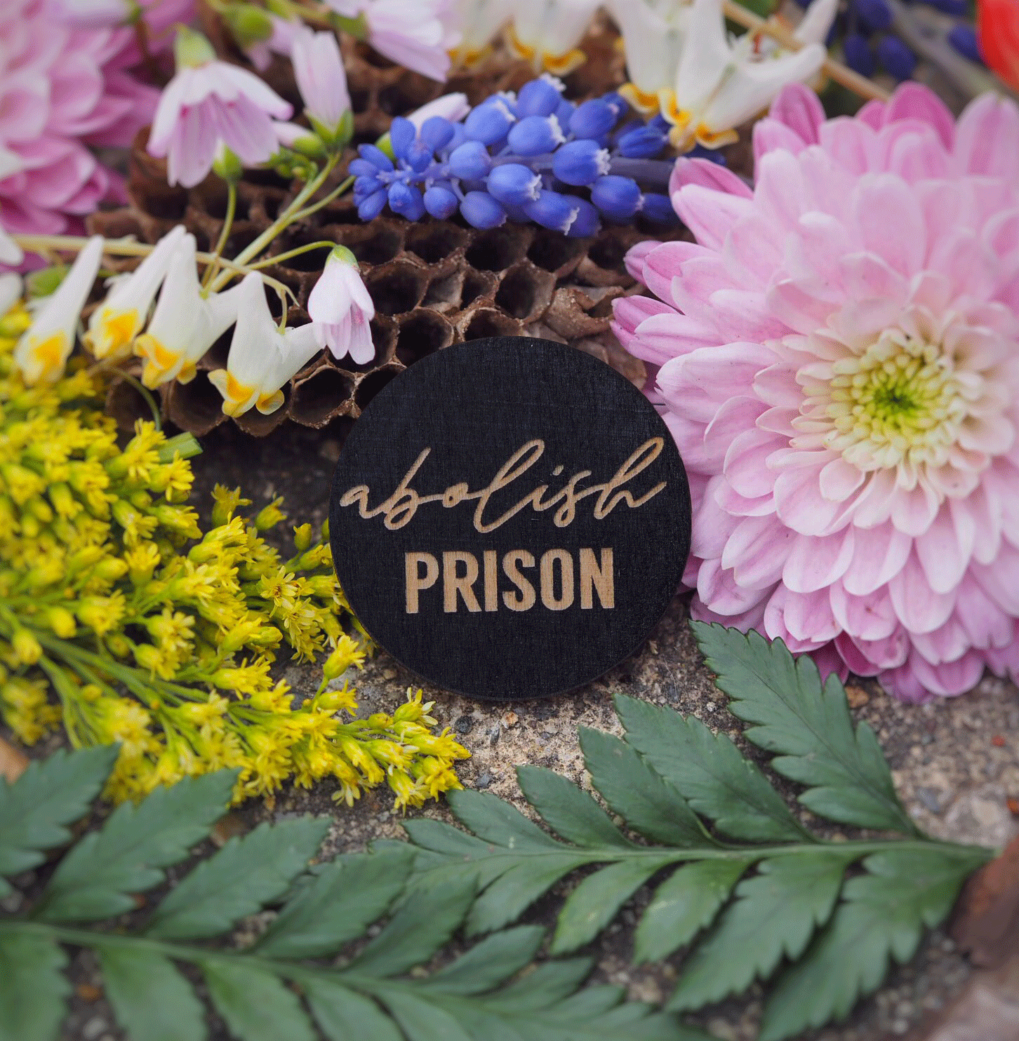 """Abolish prison"" button"