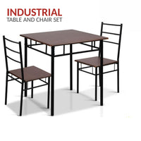 Industrial Dining Table and Chairs Set - Black/Walnut