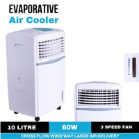 10-Litre Portable Evaporative Humidifier Cooling Fan