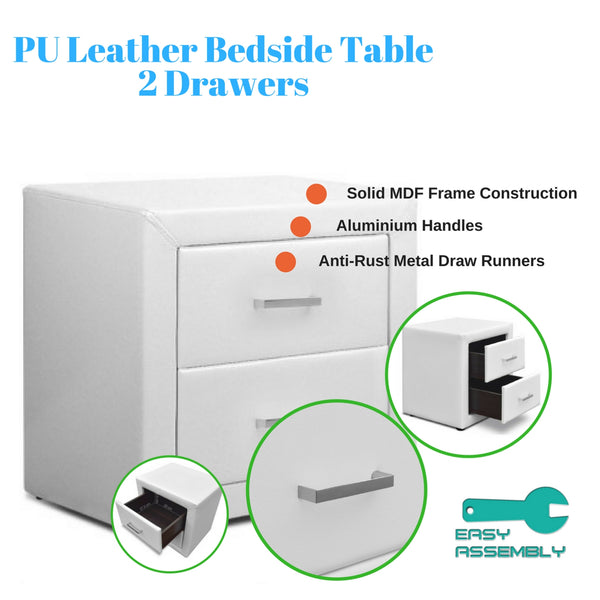 PU Leather Bedside Table