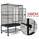 140cm Pet Cage with Castor Wheels - Black