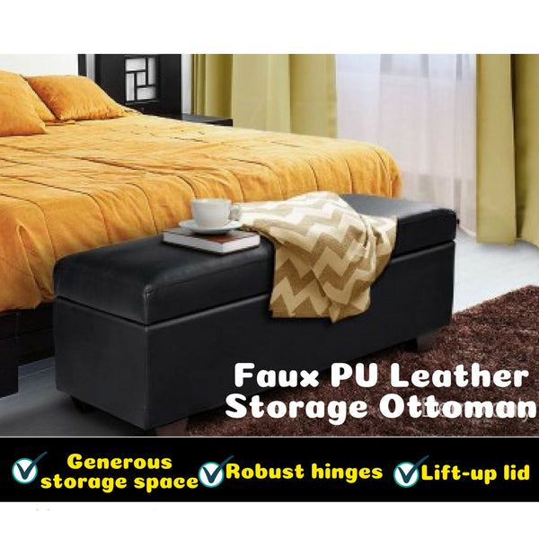 Faux PU Leather Storage Ottoman