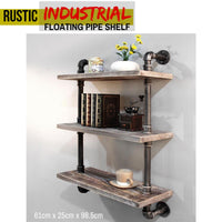 DIY Industrial Rustic Floating Wall Pipe Shelves