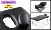 3-Fold Portable Folding Massage Table - Black