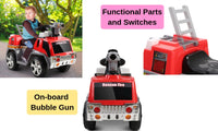 Kids Ride-on Fire Truck - Red & Grey