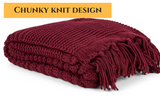 Chunky Knitted Throw (Burgundy)