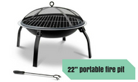 22 Inch Foldable Outdoor Fire Pit Barbecue Grill