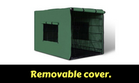 48inch Portable Folding Pet Cage with Cover Black & Green