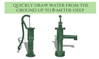 Cast Iron Garden Hand Water Pump - Green