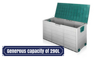 290L Plastic Tool Storage Box Container Green Grey