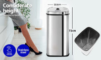 Stainless Steel Motion Sensor Rubbish Bin - 50 Litres