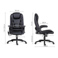 8-point PU Leather Massage Chair - Black