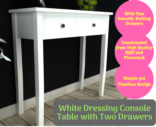 White Dressing Console Table