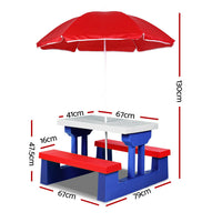 Children's Outdoor Chair Table Umbrella Play Set
