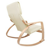 Birch Plywood Fabric Lounge Rocking Chair - Beige