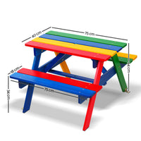 Kids Colorful Wooden Picnic Bench Set