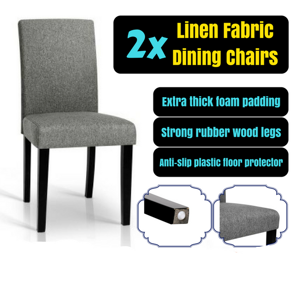 2 Premium Linen Fabric Chairs