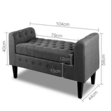Multi-function Storage Ottoman with Armrest - Grey