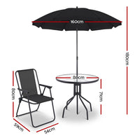 6-piece Outdoor Dining Set - Black