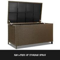 320L Wicker Outdoor Storage Box Dark Brown