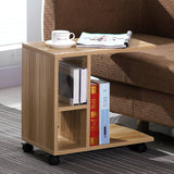 Superior Side Table with Castors - Black/Oak/White