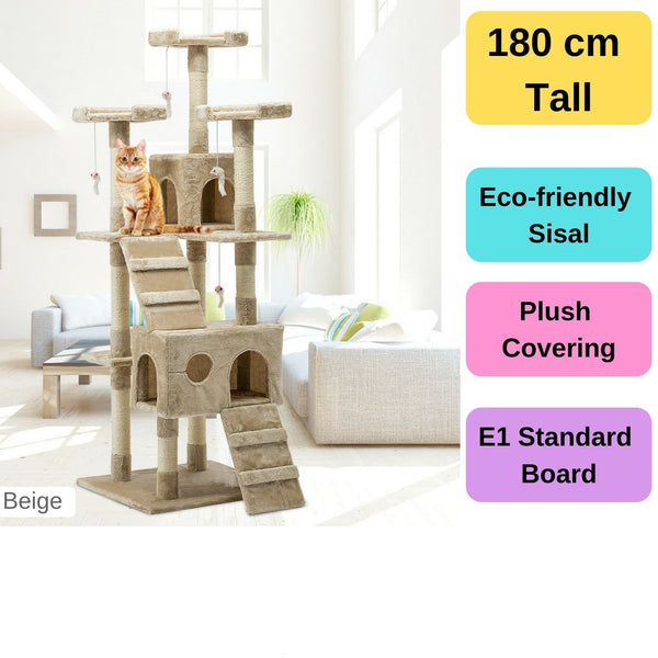 180cm Multi Level Cat Scratching Post - Beige